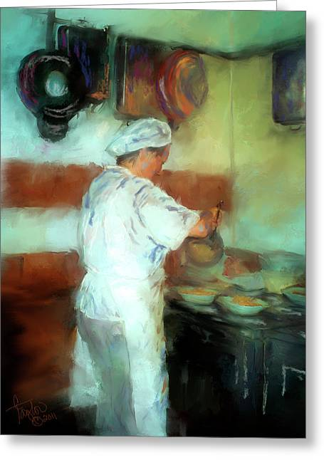 Italian Restaurant Greeting Cards - Marcellos Wife Greeting Card by Colleen Taylor