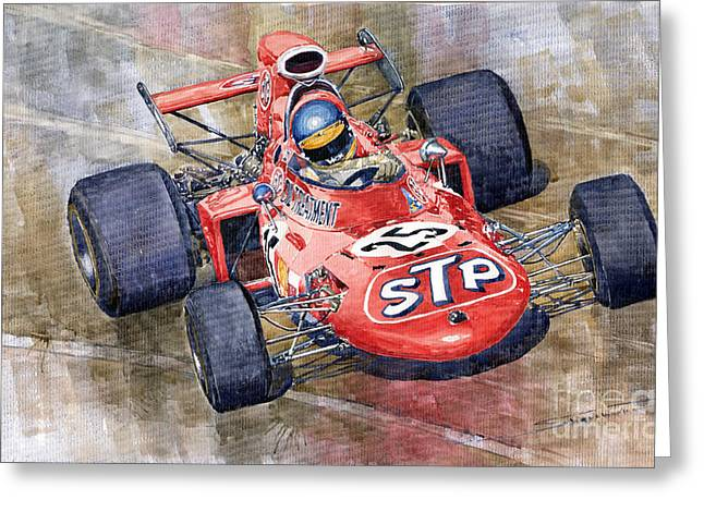 March Paintings Greeting Cards - March 711 Ford Ronnie Peterson GP Italia 1971 Greeting Card by Yuriy  Shevchuk