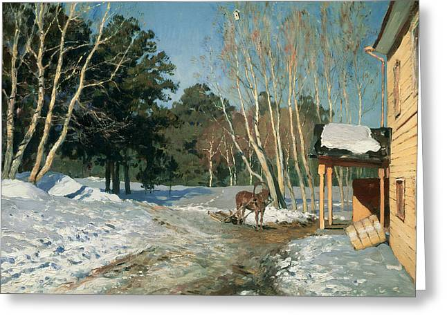 Ussr Greeting Cards - March Greeting Card by Isaak Ilyich Levitan