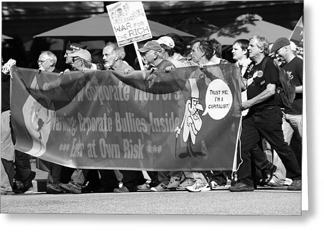 Occupy Greeting Cards - March On Greeting Card by Sonya Anthony