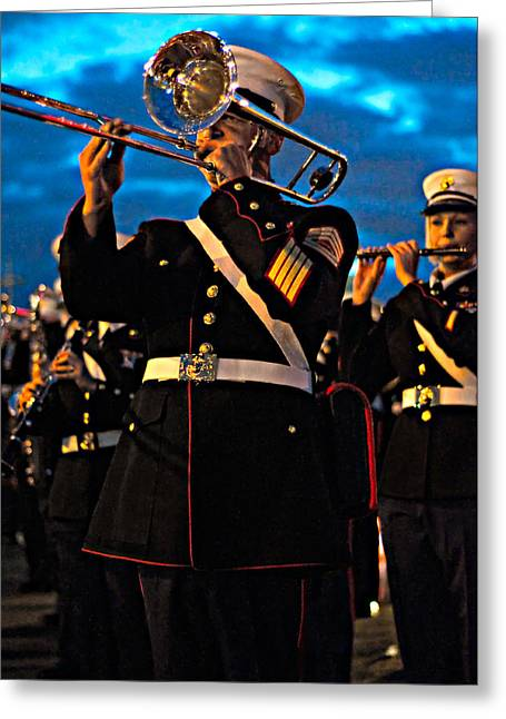 Marching Band Greeting Cards - March On Greeting Card by Steve Harrington