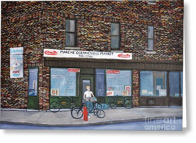 Depanneur Greeting Cards - Marche Quenneville Pointe St. Charles Greeting Card by Reb Frost