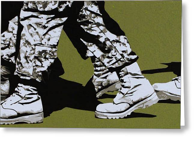 Stencil Portrait Greeting Cards - Marchers of Doom Greeting Card by Iosua Tai Taeoalii