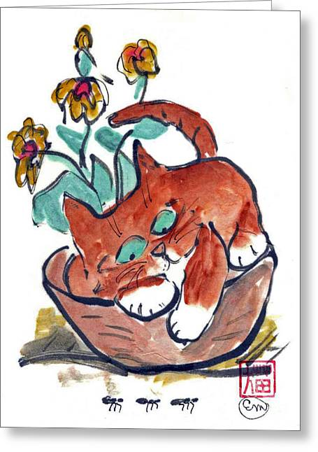 Pictures Of Cats Greeting Cards - Marching Ants Greeting Card by Ellen Miffitt