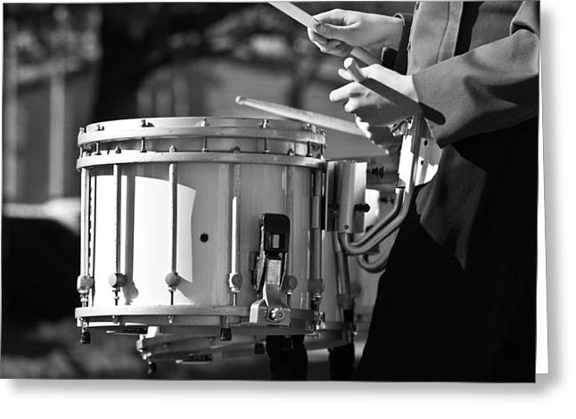 Marching Band Greeting Cards - Marching Band Drummer Boy BW Greeting Card by James BO  Insogna