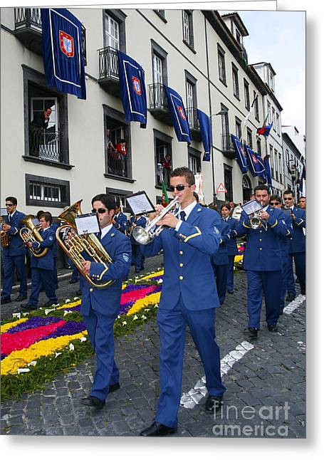 Playing Musical Instruments Greeting Cards - Marching band Greeting Card by Gaspar Avila