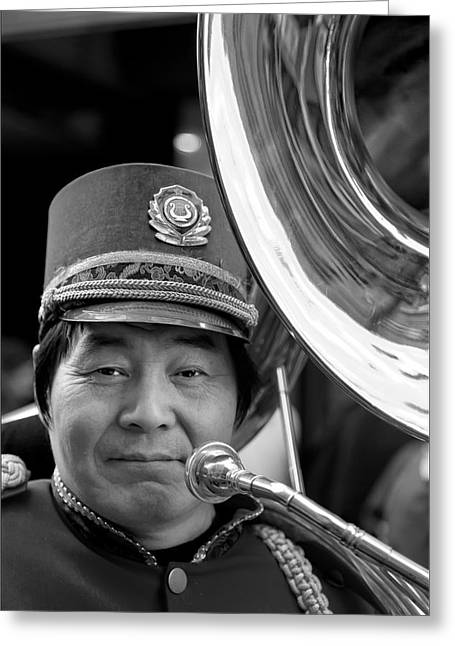 Marching Band Greeting Cards - Marching Band Musician Lunar New Year NYC Chinatown 2012 Greeting Card by Robert Ullmann