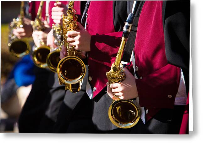Marching Band Greeting Cards - Marching Band Saxophones Cropped Greeting Card by James BO  Insogna
