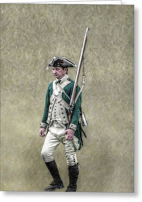 Militaria Greeting Cards - Marching Loyalist Soldier Revolutionary War Greeting Card by Randy Steele
