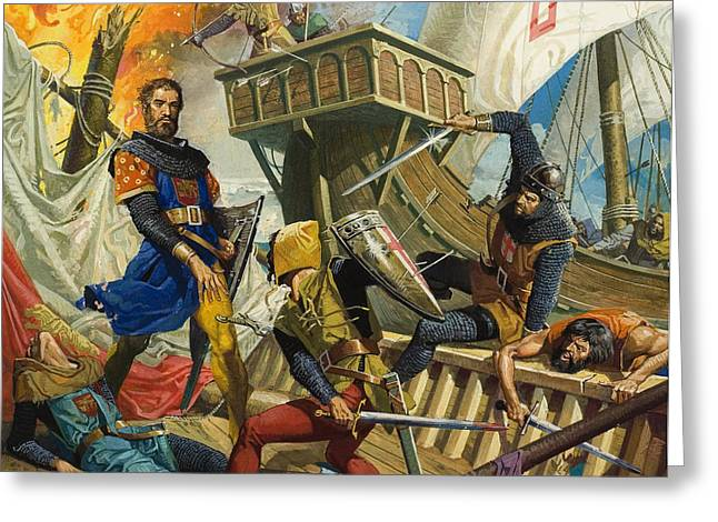Genoa Paintings Greeting Cards - Marco Polo Greeting Card by Severino Baraldi
