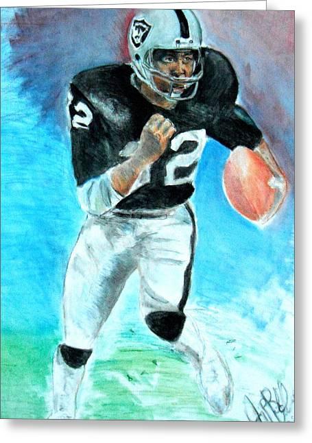 Oakland Paintings Greeting Cards - Marcus Allen Raiders  Greeting Card by Jon Baldwin  Art