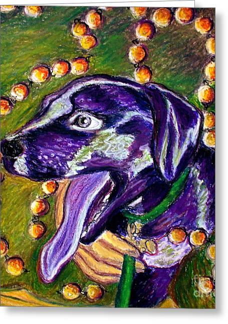 Celebration Pastels Greeting Cards - Mardi Dog Greeting Card by D Renee Wilson