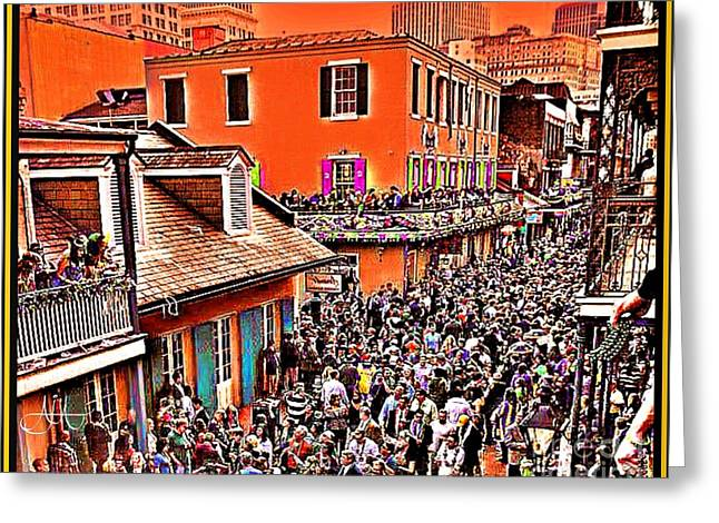 Cajun Drawings Greeting Cards - Mardi Gras - Bourbon Street Greeting Card by AJ  Modiest