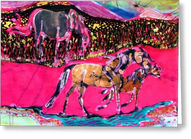 Stream Tapestries - Textiles Greeting Cards - Mare and Foal Greeting Card by Carol Law Conklin