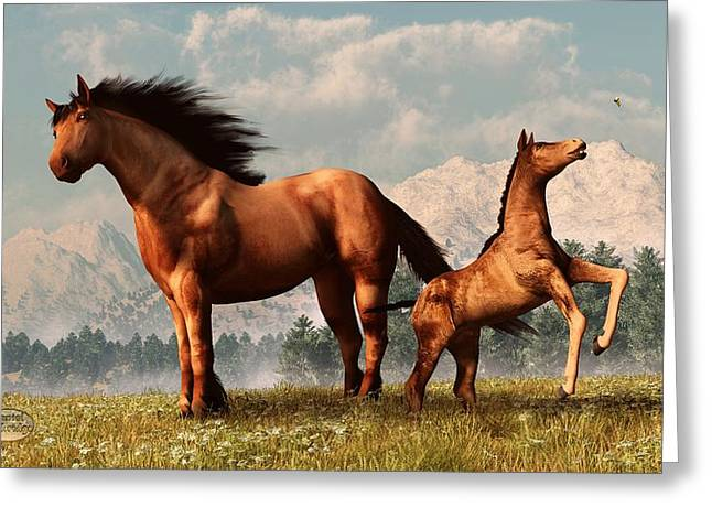 Grassy Field Greeting Cards - Mare and Foal Greeting Card by Daniel Eskridge