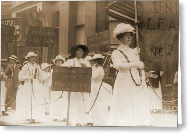 Political Rally Greeting Cards - Margaret Hinchey Carrying Banner in New York City Suffrage Parade Greeting Card by Padre Art