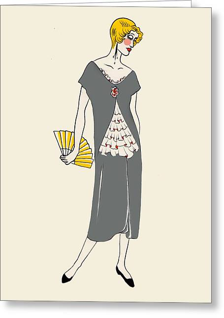 Outfit Drawings Greeting Cards - Margaret Greeting Card by Lauren Busiere