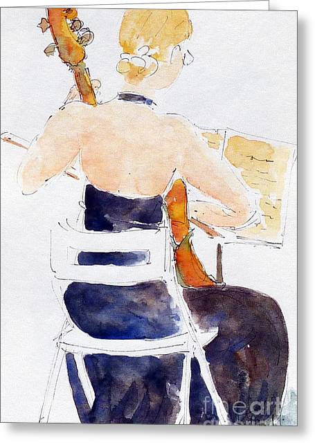 Quartet Paintings Greeting Cards - Margarethe On Cello Greeting Card by Pat Katz