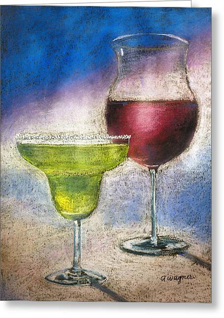 Glass Pastels Greeting Cards - Margarita And A Glass Of Wine Greeting Card by Arline Wagner