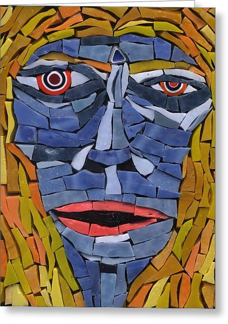 Surreal Glass Art Greeting Cards - Maria - Fantasy Face No.12 Greeting Card by Gila Rayberg