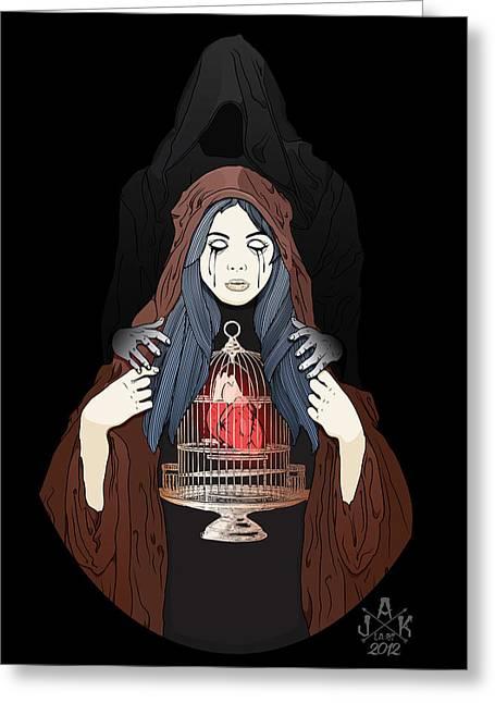 Lost Soul Greeting Cards - Maria de la oscuridad Greeting Card by Josh Katz