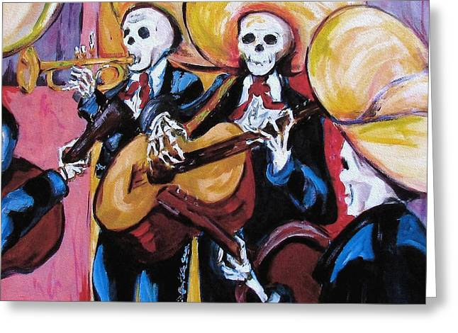 Dia De Los Muertos Art Greeting Cards - Mariachi III Greeting Card by Sharon Sieben