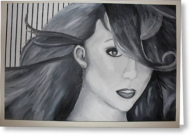 Mariah Carey Paintings Greeting Cards - Mariah Carey Greeting Card by Nicole Caruso