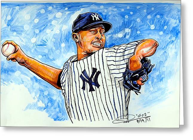 Mlb Drawings Greeting Cards - Mariano Rivera Greeting Card by Dave Olsen