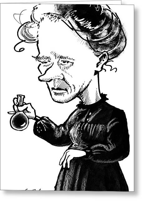 1900s Portraits Greeting Cards - Marie Curie, Caricature Greeting Card by Gary Brown