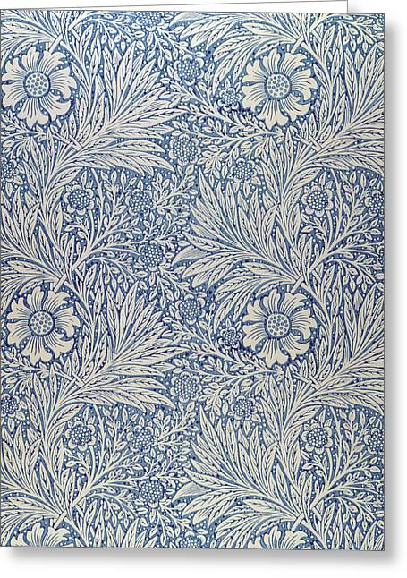 Leaves Tapestries - Textiles Greeting Cards - Marigold wallpaper design Greeting Card by William Morris