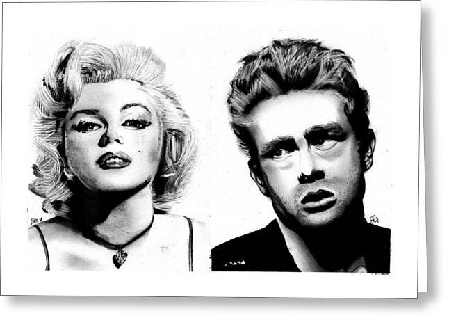 James Monroe Drawings Greeting Cards - Marilyn and James Greeting Card by Josh Crawford