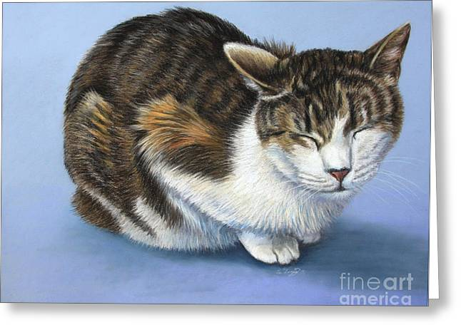 Feline Pastels Greeting Cards - Marilyn Greeting Card by Deb LaFogg-Docherty