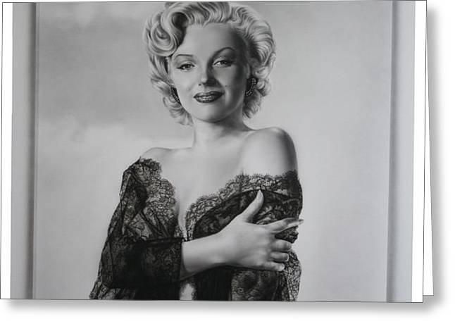 Marilyn in lace Greeting Card by Terry Stephens