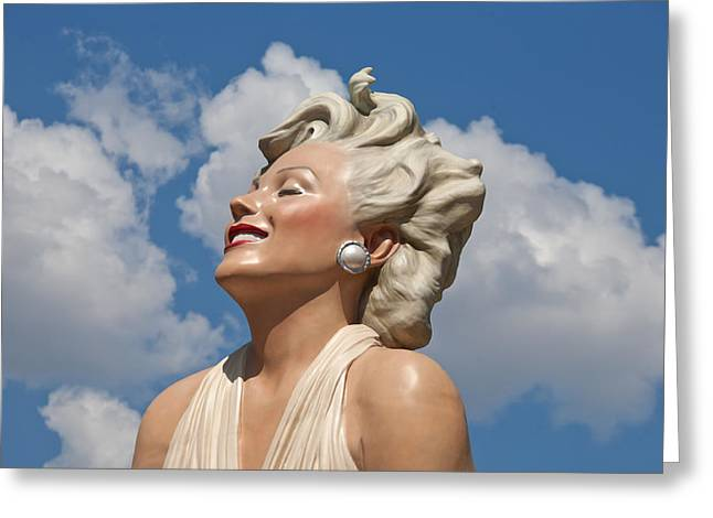 1960s Movie Stars Greeting Cards - Marilyn in the Clouds Greeting Card by Matthew Bamberg