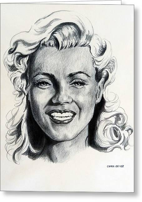 Norma Jean Greeting Cards - Marilyn Monroe Greeting Card by Carmen Del Valle