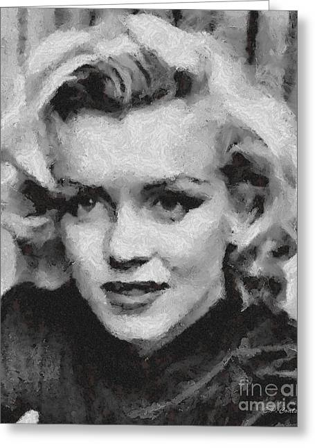 1950s Movies Greeting Cards - Marilyn Monroe Greeting Card by Elizabeth Coats