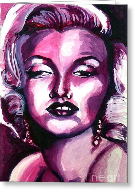 1950s Portraits Paintings Greeting Cards - Marilyn Monroe Greeting Card by Hannah Chusid