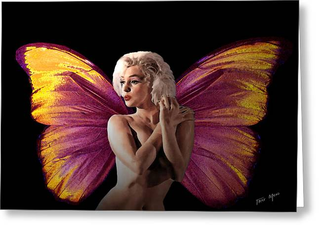 Fairies Mixed Media Greeting Cards - Marilyn Monroe the Fairy Greeting Card by Tray Mead