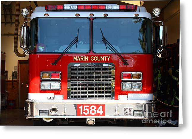 Marin County Greeting Cards - Marin County Fire Department Fire Engine . Point Reyes California . 7D15921 Greeting Card by Wingsdomain Art and Photography