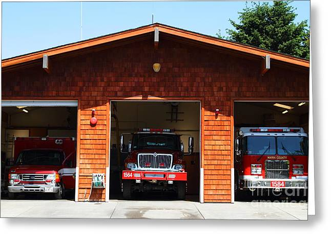 Marin County Fire Department . Point Reyes California . 7D15920 Greeting Card by Wingsdomain Art and Photography