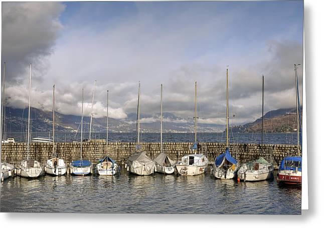 Sailing Boat Greeting Cards - Marina Cannobio Greeting Card by Joana Kruse
