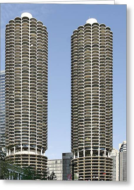 Twin Towers Greeting Cards - Marina City Chicago - Life in a Corn Cob Greeting Card by Christine Till