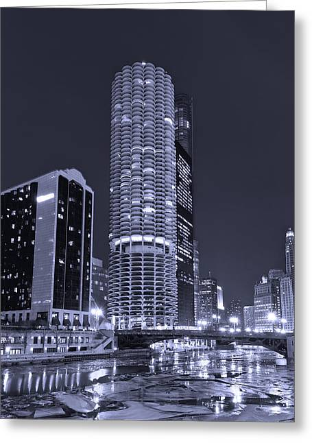 Bridge Greeting Cards - Marina City on the Chicago River in B and W Greeting Card by Steve Gadomski