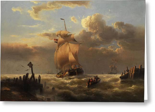 Marine Painting Greeting Card by Franz Johann Hunten