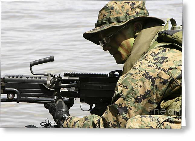 General Purpose Machine Guns Greeting Cards - Marine Provides Front Security Greeting Card by Stocktrek Images