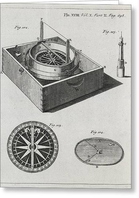 Philosophical Transactions Greeting Cards - Mariners Compass, 18th Century Greeting Card by Middle Temple Library