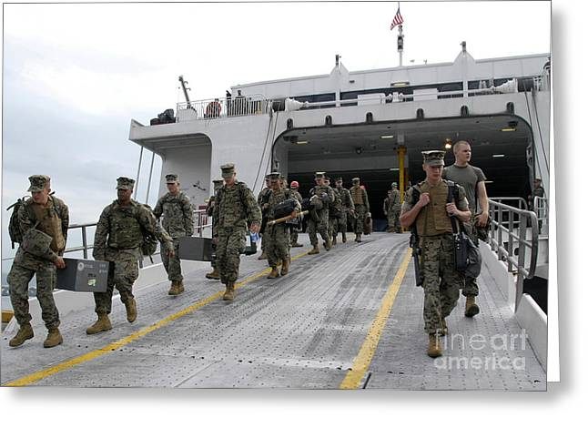 Belongings Greeting Cards - Marines And Sailors Descend The Loading Greeting Card by Stocktrek Images