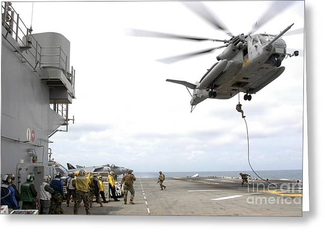 Fast-roping Greeting Cards - Marines And Sailors Fast-rope Greeting Card by Stocktrek Images