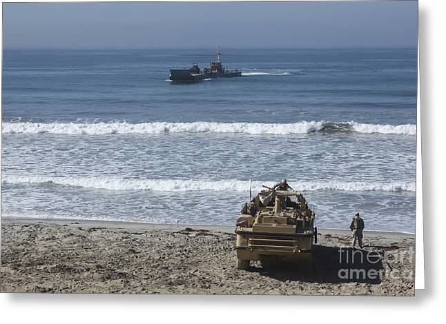 Improving Greeting Cards - Marines Await The Arrival Of An Greeting Card by Stocktrek Images