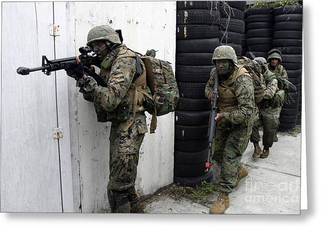 Urban Warfare Greeting Cards - Marines Clear A House, Looking Greeting Card by Stocktrek Images
